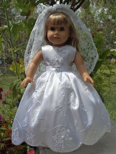 American Girl communion  white scallop doll dress