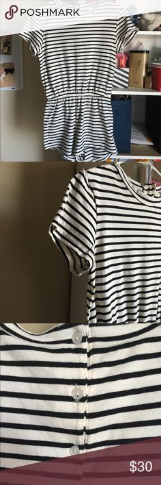 American Apparel Striped Jersey T-Shirt Romper Black and white striped romper. Good condition, just worn coupon times. American Apparel Pants Jumpsuits & Rompers