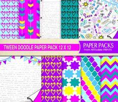 Tween Doodle Digital Scrapbook Party Paper Set by ARTiculatePRINTS
