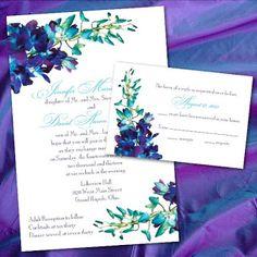 Pound The Alarm: Custom Blue Orchid Wedding Invitations by Blue And Purple Orchids, Purple Orchid Wedding, Purple Peacock, Wedding Cards, Diy Wedding, Dream Wedding, Wedding Ideas, Wedding Venues, Wedding Vows