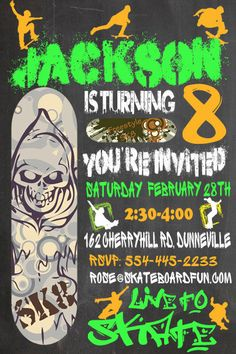 Skateboard Party Birthday Invitation by TSNDigitalDesigns on Etsy