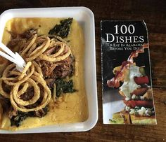"""100 Dishes To Eat In Alabama Before You Die.  Pork n' Greens at Saw's Soul Kitchen in Birmingham is my 80th """"dish"""" ....Slow-smoked tender pork, sweet vinegar-based BBQ sauce, served over creamy grits, and tangy greens, topped off with killer crispy onion rings. The portion size was ginormous."""