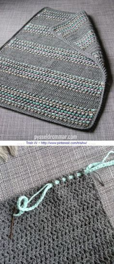 A very simple baby blanket worked in all DC, with a super-easy way to add color by weaving chains through the stitches. Free tutorial from Pysseldrommar - use Google translate, but photos are self-explanatory . . . . ღTrish W ~ http://www.pinterest.com/trishw/ . . . . #crochet #afghan #throw: