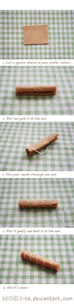Felt cake tutorial- egg roll by li-sa.deviantart.com -  looks like it could also be a cinnamon stick to me!