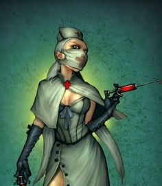 This won't hurt a bit , evil smile. Character Design References, Character Art, Fantasy Characters, Female Characters, Images Of Nurses, Nurse Drawing, Evil Doctor, Zombie Nurse, Nurse Art