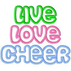 LIVE LOVE CHEER Applique Machine Embroidery Design 4x4 5x7 6x10 Cheer leading Cheerleader Cheerleading. $3.50, via Etsy.