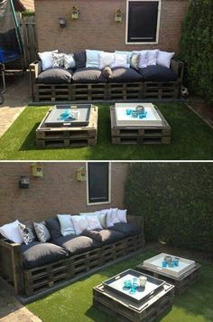 Pallets Old Give old pallets a new life by turning them into patio furniture! - Turn pallets into a beautiful furniture set for your patio / outdoor living area. Pallet Patio Furniture, Garden Furniture, Diy Furniture, Outdoor Furniture Sets, Outdoor Decor, Pallet Couch, Outdoor Pallet, Outdoor Seating, Pallet Seating