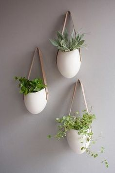 diy? white egg vases, leather strap hangers, succulents (on wall right if window in lieu of easel and print)