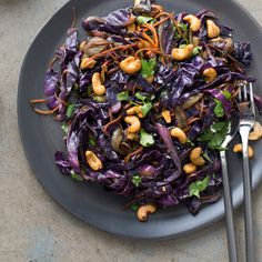 Healthy cabbage is stir-fried with curried cashews in this quick and easy family dinner favorite.