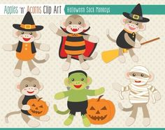 Halloween Sock Monkeys Clip Art - color and outlines $