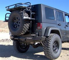 jeep cargo rack | HANSON OFFROAD - JK REAR SPINDLE BUMPER/SQUARE FRAME TIRE CARRIER