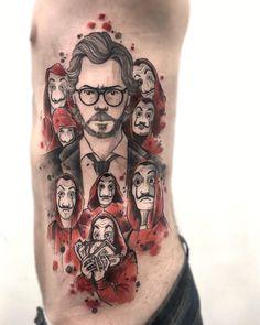 Tatuagem criada por Felipe Mello do Rio de Janeiro.    Inspirada na série La Casa de Papel, a tatuagem retrata o rosto e as máscaras de cada personagem.