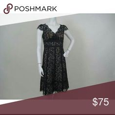 Ann Taylor Loft lace dress Black lace dress with nude underlay and cap sleeves.  Has beautiful vintage look but is like new. LOFT Dresses Midi