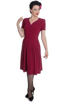 Moira dress cerise by Hellbunny