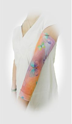 Custom PICC line covers sleeves at off-the-shelf prices. Shown in 'Butterfly' full arm style by PICC Cover Fashions tm. 80+ styles.