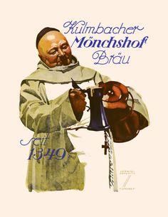 1926 Hohlwein Kulmbacher Monchshof Brau Beer Ad Poster.