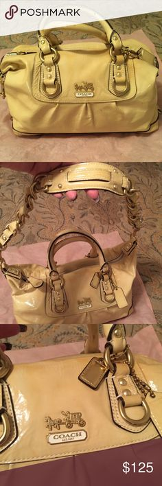 Coach bag Beautiful patent yellow leather in great condition gently used does have slight scuffing in a few areas but in excellent condition inside and out Coach Bags Satchels