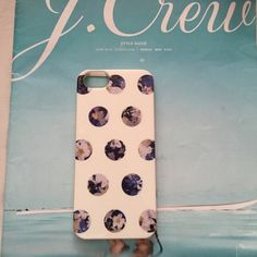 Jcrew iPhone 5 cover White and blue pattern dots iPhone 5 cover from Jcrew retail. *a bit colored on the edges as shown in second pic. J. Crew Accessories Phone Cases