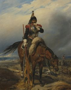 French Cuirassier with captured Austrian colours
