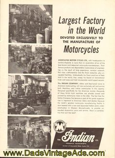 1959 Indian Motorcycle Factory – vintage advertisement with photos Guitar Magazine, Magazine Ads, Vintage Indian Motorcycles, Spiritual Guidance, Best Dad, Vintage Ads, Transport Posters, Advertising, Photos