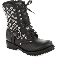 ASH Ryanna Studded Combat Boots (£81) ❤ liked on Polyvore featuring shoes, boots, ankle booties, sapatos, botas, black, ankle boots, black bootie, lace up combat boots and short black boots