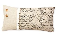 love this! Script Ruffle 10x20 Pillow, Natural on OneKingsLane.com