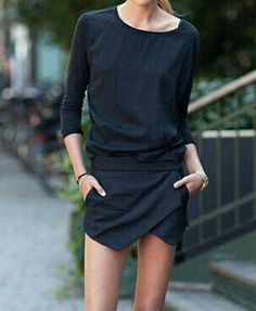 All black outfit, asymmetrical skirt #minimalist #fashion #style