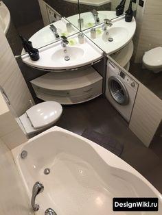 Ремонт в маленькой ванной с туалетом и стиральной машиной Tiny Living Rooms, Tiny House Living, Bathroom Design Small, Amazing Bathrooms, Bathroom Inspiration, Corner Bathtub, Home Renovation, Sweet Home, Home Appliances