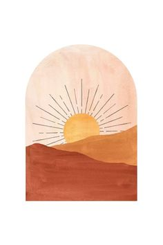 Art And Illustration, Illustrations, Painting Inspiration, Art Inspo, Minimal Art, Art Minimaliste, Sunset Art, Sunset Canvas, Sunset Quotes