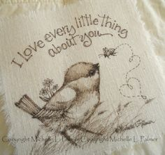 Original Pen Ink on Fabric Illustration Quilt Label by Michelle Palmer Bird Chickadee Bee Bumble Honey