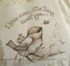 Original Pen Ink on Fabric Illustration Quilt Label by Michelle Palmer Bird…