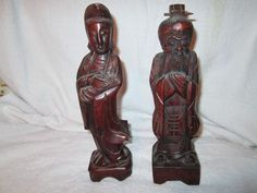 Vintage Chinese Wood Carved Statues Oriental Hand Carved