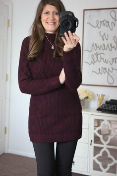 Amberley Cowl Neck Pullover. I'd love a sweater that's long enough for me to wear with leggings in the fall and winter. Love this color too!