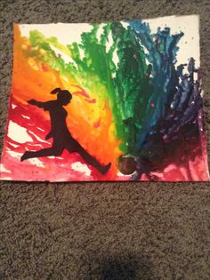 MY FIRST CRAYON MELTING. I'd say it's pretty successful. Soccer crayon melting art