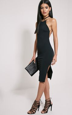 Black Backless Midi Dress A backless dress is a sure way to turn heads - Featuring figure enhanc...