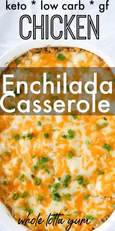 keto recipes dinner 20 min chicken enchiladas casserole that makes an easy chicken dinner recipe to bake. This quick and cheesy casserole with green chili sauce is also a keto chicken casserole, plus its low carb and gluten free too. Best Chicken Casserole, Green Chili Casserole, Easy Casserole Recipes, Keto Casserole, Green Chicken Enchilada Casserole, Recipe For Chicken Enchiladas, Casseroles With Chicken, Gluten Free Chicken Casserole, Gluten Free Enchiladas