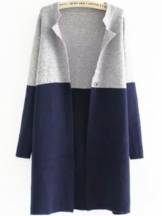 Color-block Long Sleeve Cardigan Mobile Site
