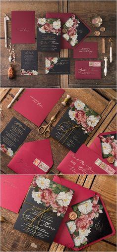 Burgundy and black fall wedding invitation set from @4lovepolkadots   #weddings #fallweddings #4lovepolkadots  #weddingideas #weddinginvitations