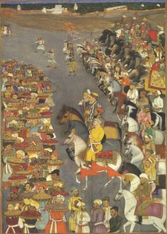 Dara Shikoh on his horse accompanied by Aurangzeb, Prince Shah Shuja and other dignitaries. folio 123a. Painted by unknown c1640.