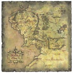 Poster affiche Le Seigneur des Anneaux Lord of the Rings Carte Terre Du Milieu