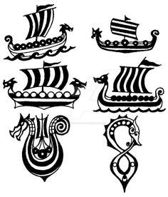 Drakkar - viking ship - small tattoo flashes by thehoundofulster.deviantart.com on @DeviantArt