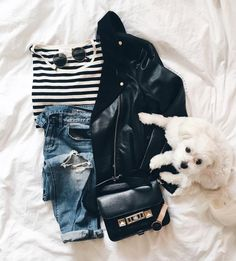 With a striped tee, boyfriend jeans, and a crossbody bag.