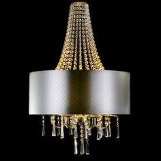 Contemporary Crystal Chandelier with Silver Shade - Lighting