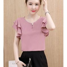 Women's Going out Cotton Blouse - Solid Colored Blouse Styles, Blouse Designs, Casual Outfits, Fashion Outfits, Going Out Tops, Affordable Clothes, Affordable Fashion, Fashion Tips For Women, Fashion Ideas