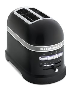 The KitchenAid Pro Line Toaster features a motorized lifting mechanism. A sensor triggers the toaster to automatically lower bread when placed in the slots.