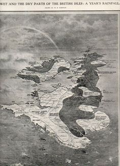 """The Wet and the Dry Parts of the British Isles: a Year's Rainfall"""" birdseye view appeared in the Illustrated London News on 28 January 1911"""