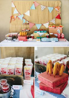 Country fair birthday theme party food vintage fun kids fair birthday party ideas Bunting and Burlap! Circus Carnival Party, Carnival Birthday Parties, Circus Birthday, First Birthday Parties, Birthday Party Themes, First Birthdays, Vintage Circus Party, Retro Party, Vintage Carnival
