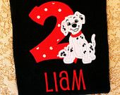 Dalmation Puppy Dog Birthday Custom Embroidered Personalized Shirt or Bodysuit: You pick the Colors and Age by Personally Graced Gifts at www.PersonallyGraced.com