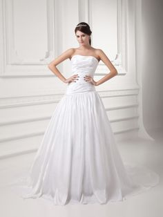 Strapless Taffeta Wedding Dress with Beaded Ruched Bodice and Court Train