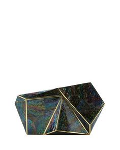 "Rafe ""Azura"" rainbow shell inlay and brass minaudière available @neimanmarcus online"